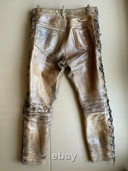 Pantalon En Cuir Dérangé, Non Doublé, Tan Brun, Bluf 34x29