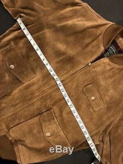 Pays Polo Ralph Lauren Grand Blouson En Cuir Rrl Cowboy Suede Vtg A2 B3