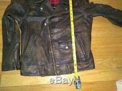 Polo Ralph Lauren Biker Moto Brown Rlpc Distressed Manteau De Veste En Cuir Pour Hommes Sz M