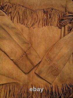 Polo Ralph Lauren Deerskin Distressed Fringed Field Western Native Jacket L Hommes