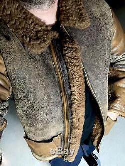 Polo Ralph Lauren Distressed Bomber Veste En Cuir Vtg Rrl En Peau De Mouton Manteau De Fourrure