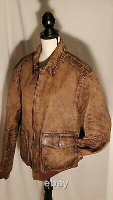 Polo Ralph Lauren Distressed Leather Bomber Jacket Coat Brown 998 $