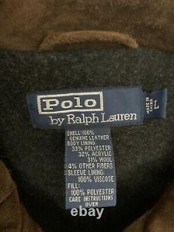 Polo Ralph Lauren Grand Brown Veste En Cuir Rrl Vtg Doux Suède Distressed Manteau