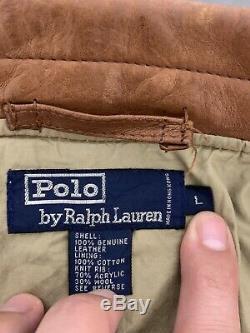 Polo Ralph Lauren Grand Veste En Cuir Rrl Vtg Aviator G1 Manteau Brown Distressed