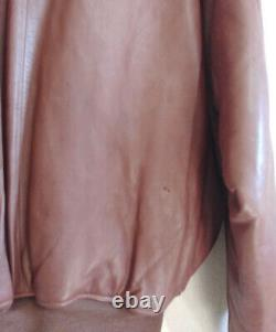 Polo Ralph Lauren Grande Veste En Cuir Bombardier Brun En Détresse Rrl Vtg Aviateur