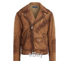Polo Ralph Lauren Hommes Brown Suede Cuir Vieilli Vintage Veste Motard Moto
