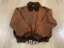 Polo Ralph Lauren Hommes Vintage En Cuir En Peau De Mouton Distressed Bomber Jacket M Souple