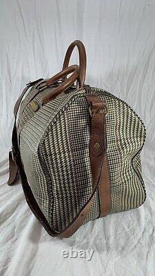 Polo Ralph Lauren Houndstooth Boston Brown Leather Trim And Canvas En Détresse