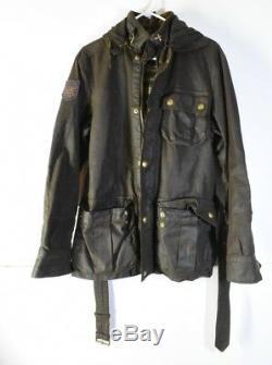 Polo Ralph Lauren Manteau Huile Cuir Outdoor Veste Pour Hommes Vintage Affligée Szs