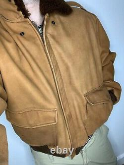 Polo Ralph Lauren Medium Distressed Bomber Leather Jacket Rrl Vtg Shearling Fur