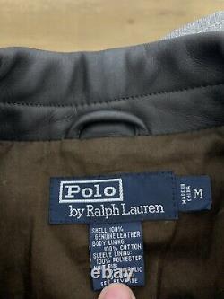 Polo Ralph Lauren Moyen Dark Brown Leather Jacket Rrl Vtg A2 Bomber Aviator G1