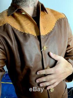 Polo Ralph Lauren Pays Chemise En Cuir Veste Rrl Cowboy Vtg Western Raw Sample