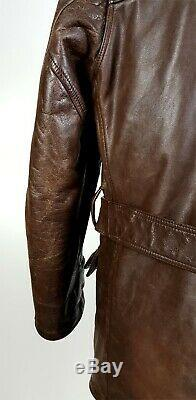 Polo Ralph Lauren Sz M Trench En Cuir Manteau Distressed Ceinture Marron