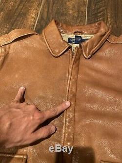 Polo Ralph Lauren Veste En Cuir Rrl Vtg Aviator G1 Manteau Brown Distressed