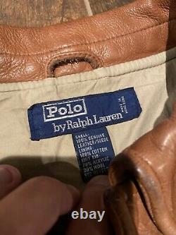 Polo Ralph Lauren Veste En Cuir Rrl Vtg Aviator G1 Manteau Brun En Détresse