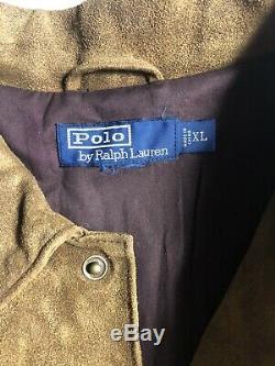 Polo Ralph Lauren X-large Brown Trucker Veste En Cuir Rrl Distressed Huile Suede