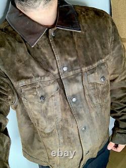 Polo Ralph Lauren X-large Veste En Cuir Trucker Rrl Cowboy Oil Suede Vtg Robuste