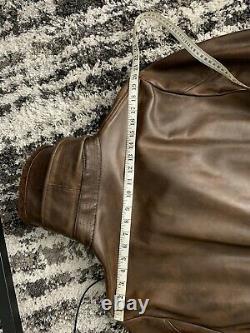 Polo Ralph Lauren X-large Veste En Cuir Vtg Rrl Manteau Col En Fausse Fourrure Trench XL