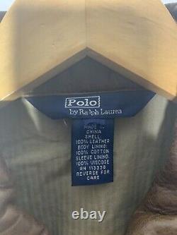 Polo Ralph Lauren X-small Brown Veste En Cuir Rrl Vtg Moto Biker En Détresse