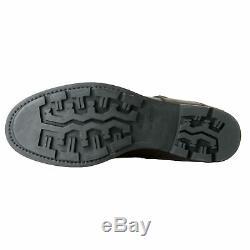 Prada Brown Hommes Distressed Cuir Chaussures Moto Bottes Sz 9 9,5 11,5