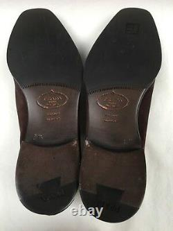 Prada Homme Brown Distressed Slip On Shoes Taille 8.5 Uk Made In Italy