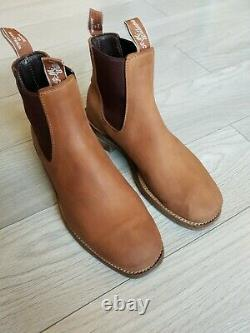 R.m. Williams Boots Rm Vintage Distressed Nubuck Leather Uk 10 Wide Oily Tan