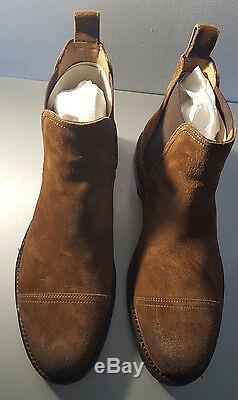 Ralph Lauren Mosley II Brown Snuff Distressed Suede Boot Made In Italy
