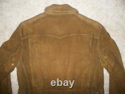 Ralph Lauren Polo Rrl Vtg D-pocket Half-belted Suede Leather Moto Jacket M