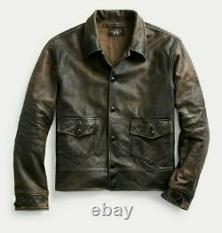 Ralph Lauren Rrl Brown Cuir Vieilli Vintage Newsboy Veste M Nouveau 2200 $