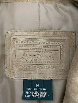 Ralph Lauren Veste Blazer Moyen Rrl Vtg Hunting Leather Suede Western Concha