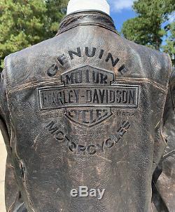 Rare Harley Davidson Mens Chaussée Distressed Brown Veste En Cuir XL 98002-11vm