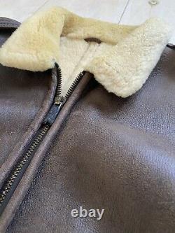 Rare Sawyer De Napa Distressed Lambskin Leather Shearling Bomber Jacket Coat XL