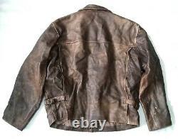Rare Vintage Indiana Jones Leather Jacket Large 1920s Style Distressé