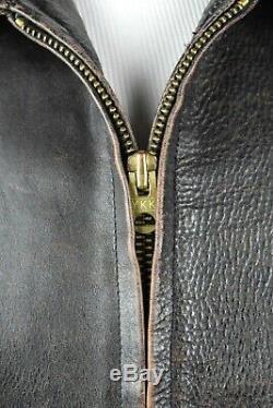 Rare Vtg Ralph Lauren Hommes Polo Rrl Veste Double Rl Épais Cuir Vieilli L