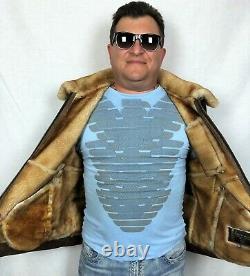 Real 100% Sheepskin Shearling Leather Espresso/gold Misty Men Vest Jacket S-8xl