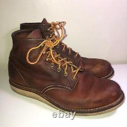 Red Wing Distressed Brown Leather Lace-up 2950 6 In Round Toe Work Boot10 D