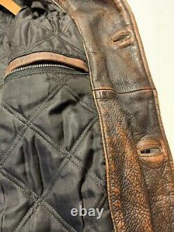 Retro Vintage Distressed Brown Eddie Heavy Bouton Bauer Veste En Cuir Taille XXL