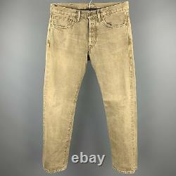 Rrl Par Ralph Lauren Taille 30 Kaki Washed Distressed Denim Button Fly Jeans