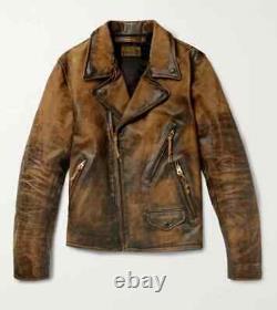 Rrl Ralph Lauren Brown Moto Décapité 1900s Veste En Cuir Pour Homme 2xl XXL
