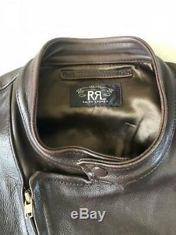 Rrl Ralph Lauren Distressed Veste En Cuir Cowboy X-large Brown Vtg Ranch Robuste