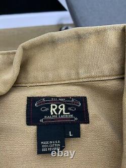 Rrl Ralph Lauren Grande Veste Brune Vtg Cruiser Coat Polo Trucker Khaki Canvas