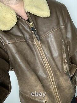 Rrl Ralph Lauren Grande Veste En Cuir Brun Polo Shearling Fur Coat XL Hunting