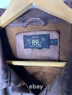 Rrl Ralph Lauren Rl Grand Brown Gambler Veste En Cuir Vieilli Polo Trucker