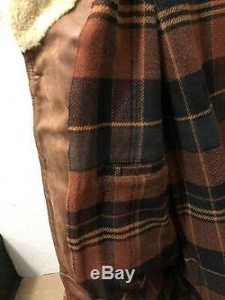 Rrl Ralph Lauren Shearling-trim Tan Distressed Manteau En Cuir Veste Tn-o S