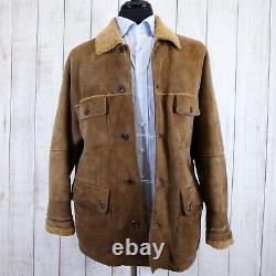 Shearling Sheepskin Distressed Faconnable Trucker Work Jacket Chore Coat Medium