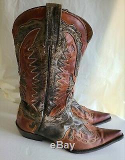 Stetson Hommes Outlaw Aigle Ouest Distressed Wingtip Bottes En Cuir Cowboy Sz 11d