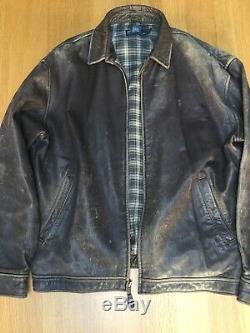 Superbe Vintage Ralph Lauren Rrl Hommes L 50 Po Distressed Bomber Veste En Cuir