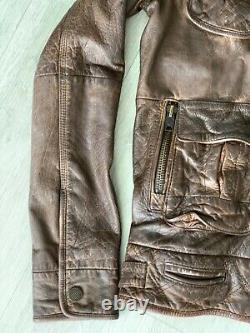 Superdry Tarpit Premium Leather Jacket Collier De Fourrure Marron Détresse Moyenne