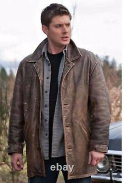 Supernatural Dean Winchester Rub Buff Distressed Vache Cacher Veste En Cuir