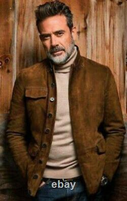 The Walking Dead Negan Jeffrey Dean Morgan Veste En Cuir De Daim Brun En Détresse